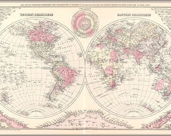 16x24 Poster; Map Of The World 1886