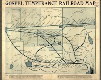 16x24 Poster; Gospel Temperance Railroad Map 1908
