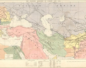 16x24 Poster; Map Of Middle East Turkish Empire Persia 1886