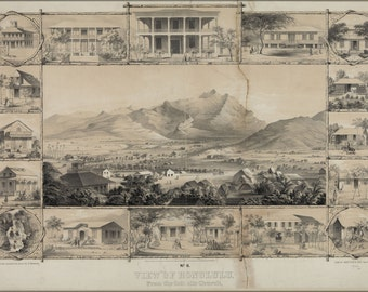 16x24 Poster; No. 6. View Of Honolulu. From The Catholic Church. (C. 1854) #031215