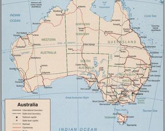 16x24 Poster; Cia Map Of Australia 1999