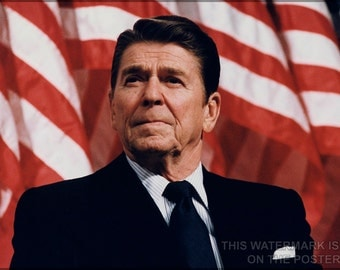 16x24 Poster; President Ronald Reagan With American Flag