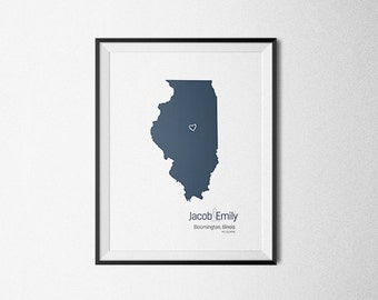 Custom State Map, Personalized Wedding Gift, State Map Print, Anniversary Gift, Personalized Custom State Map, Wedding Map - 8x10 Art Print
