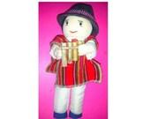 Vintage Otavalo Cloth Doll,Ecuador Cloth Doll, Cloth Doll with Panpipe,Vintage Doll,Doll in Sandals,Peru,International Doll, Souvenir Doll