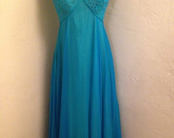1960s Turquoise Chiffon Gown