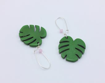 Monstera Leaf Earrings with Opaque Pink Swarovski Crystals, Handmade Jewelry by Detail London.