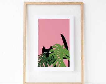 Monstera Cat Print