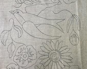 Barn swallow, vintage Floral, sunflower,swallow, rug hooking,primitive,bird,wool, hooked rugs, rug