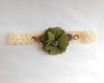 Cream Baby Headband with Dark Green Flower and Accents