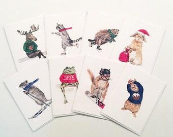 Assorted Christmas cards |  Animal Christmas cards packs  | Xmas cards | Holiday cards | Cute Christmas cards | Funny Christmas cards