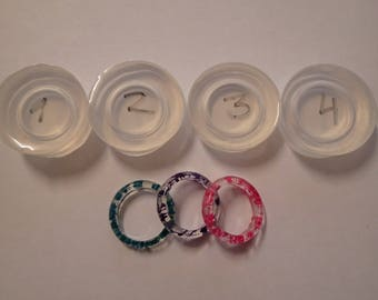 Clear silicone ring mould for resin . Set of 4 sizes.