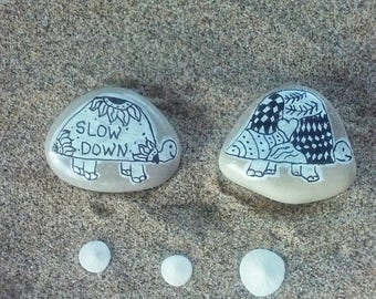 Two Turtles Painted Beach Stones