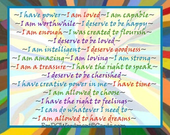 I Have Power~26 Affirmations Empowerment/Celebration/empowering girls and women/Uplifting/Encouragement/Affirmations/inspiration/sisterhood