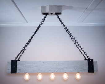 The Scantling 4ft Rustic Industrial Beam Chandelier with Metal Straps, Forged Chain and Edison Bulbs