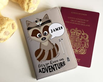 Personalised Racoon Adventure Childrens Passport Cover - FREE POSTAGE