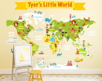 Large World Map Wall Sticker Peenmediacom - World map for kids room