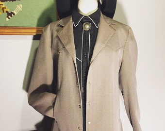 Vintage mens western jacket/bolero/short jacket/tan/pearl snaps/40L/Large