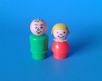 "Fisher Price Little People "" Father & Daughter Figure "" 1970's"