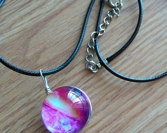 Pink Galaxy Glass Ball Orb Pendant Necklace