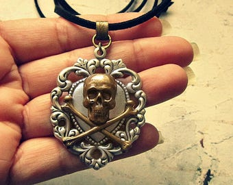 Silver Heart Pirate Necklace, Pirate Jewelry, Pirate Jewlery, Pirate Gifts, Pirate Accessories, Skull And Crossbones Neckalace