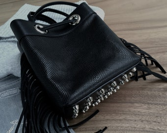 Bucket bag in black calfskin and snake embossed leather.  Biker bucket bag with studs.  Small leather cross body bag.  Perfect gift for her.