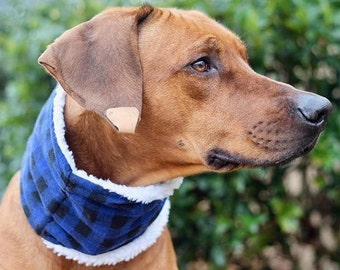 Blue Plaid Dog Scarves, Dog Neck Warmers, Neck Gaitors, Dog Cowls, Scarfs for Dogs, Neckwarmer for Dogs, Flannel Scarves, Sherpa Scarves