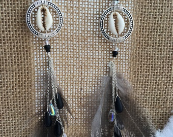 Wire wrapped shell & feather long boho dangle earrings
