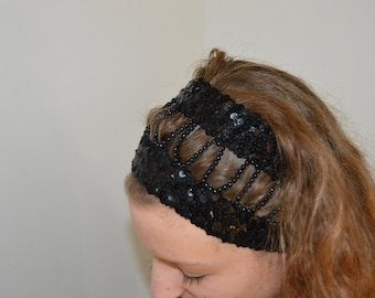 Beaded headband, black banceau, Gothic turban