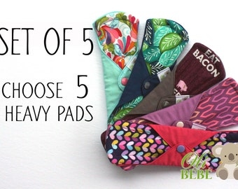 Cloth menstrual pads  - Set of 5 heavy pads - Choose your models - 100% cotton - Mama pad - Reusable cloth pads - Cloth pads - Eco friendly