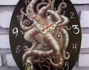 Azathoth an Old One.  Cthulhu Mythos of Lovecraft Wall clock. Cosmic Horror clock. Horror decoration.