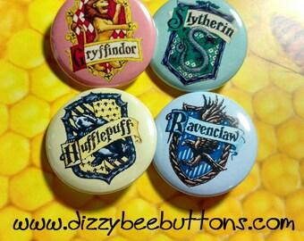 Harry Potter - Hogwarts Houses - Pinback Button - Magnet - Keychain - Slytherin - Gryffindor - Hufflepuff - Ravenclaw - Fandom - Gift