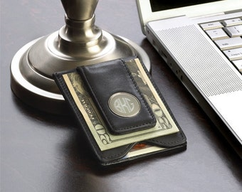 Leather Money Clip and Card Holder (g186-1168) - Free Personalization