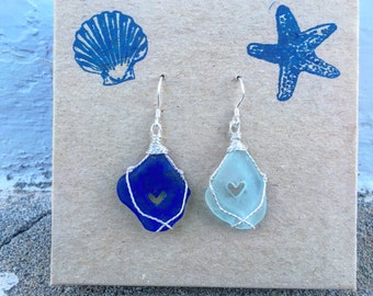 Pretty Mismatched Mermaid Tears Sea Glass Earrings