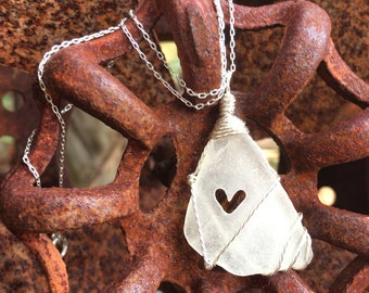 Sea Glass With A Heart Silver Necklace