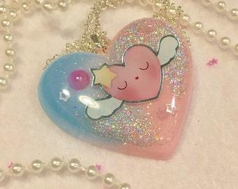 Kawaii sleepy heart pendant necklace