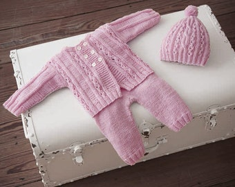 Hand knitted baby set pink jacket+pants+hat in pink. Cotton. 0-1.5 / 1.5-6 months. For Newborns.gift. Made to order.