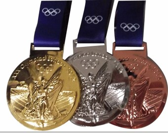London 2012 0lympic Silver/Gold/ Bronze medals with Silk Ribbons