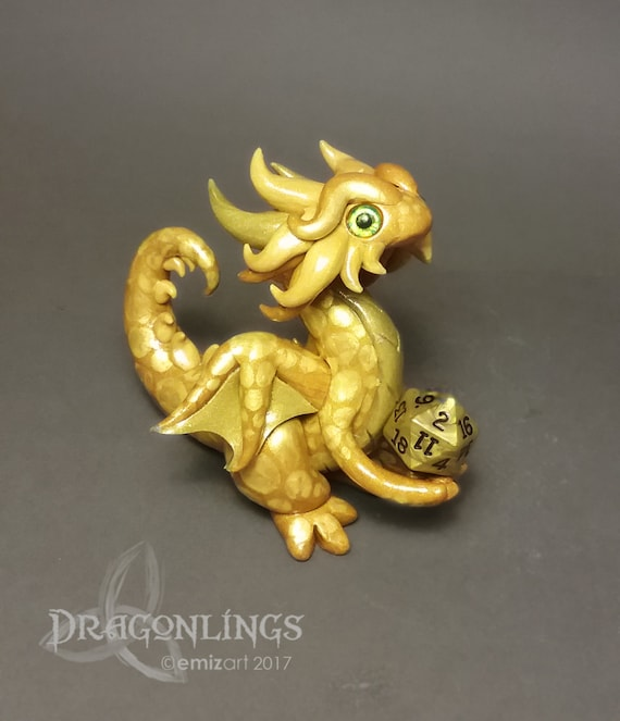 Polymer Clay Dragon Dice Holder- Shades of Gold: Gildor