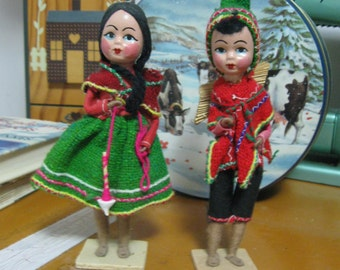 70's Souvenir Peruvian Boy and Girl Dolls Authentic Dress Collectible Dolls SEE DETAILS