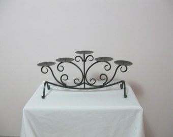 80's Heavy Wrought Iron and Metal Candle Holder Candelabra or Fireplace Insert Fancy Scroll Wrought Iron SEE DETAILS