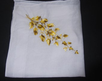 Retro Machine Embroidery Vintage Hankie Shabby Chic 1960's