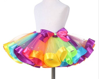 Super Cute Rainbow Tutu Skirt, Sparkly Diamond Rainbow Dress, Handmade Rainbow Skirt, Birthday Party Tutu, Crystal Rainbow Skirt