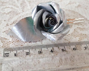 Enchanted Rose Hair Clip / Silver Rose / Statement Jewelry / Metal flower Jewelry /  Soda Can Art / Eco Friendly / Wedding Accessories