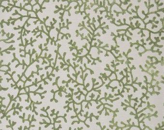DESIGNER TROPICAL CORALINDA Corals Cut Velvet Fabric 10 Yards Grass Green