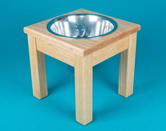 """Elevated Dog Feeder 10"""", One Stainless Steel 2 Quart Bowl, Solid Oak Wood"""