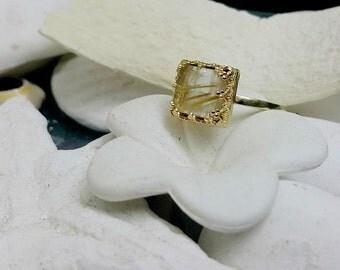 SALE! Square ring,rutilated quartz ring,fancy ring, delicate ring, statement ring,rutilated quartz ring,,gold ring,vintage ring