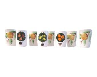 Fruit Ceramic Tumblers, S/8