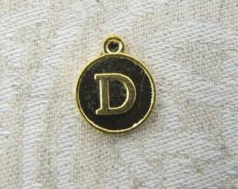 "Gold Medallion Letter ""D"" Charm 1 or 5 letters per package ALF012d-GL"