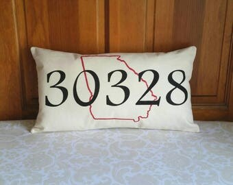 Zip Code Pillow | New Home Housewarming Gift | Graduation Gift | New Home Gift | Retirement Gift | Moving Away Gift | Living Room Decor