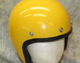 Yellow Helmet Motorcycle Scooter Vintage Head Safety Protection Gear Guard